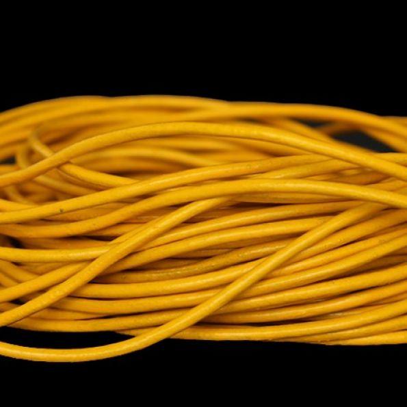 90cm Cordon jaune en cuir véritable 2mm