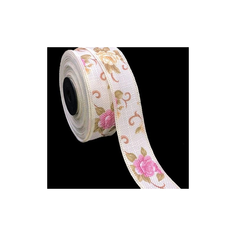 Ruban de lin imprimé fleurs [25mm] ref.166